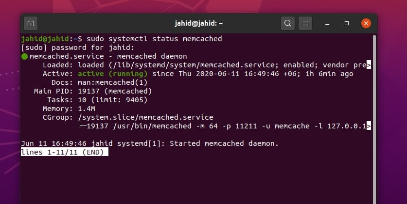 Memcached on Ubuntu Linux status