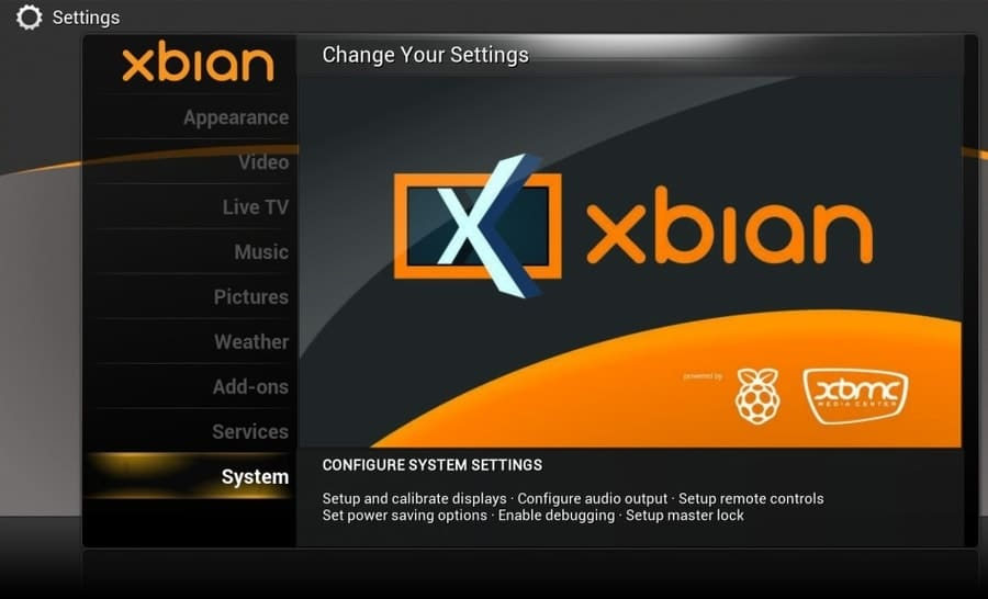 XBian on Raspberry pi runing