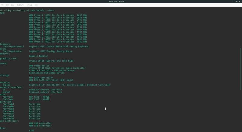hwinfo - Linux system info