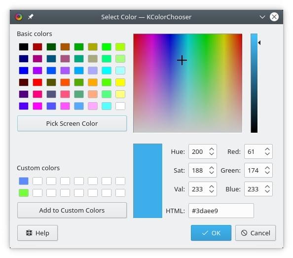 kcolorchooser - color picker tools for Linux