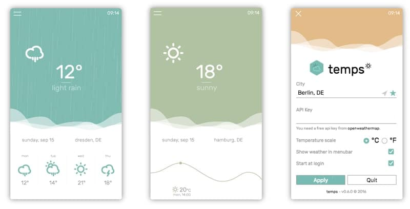 temps - weather tools for Linux