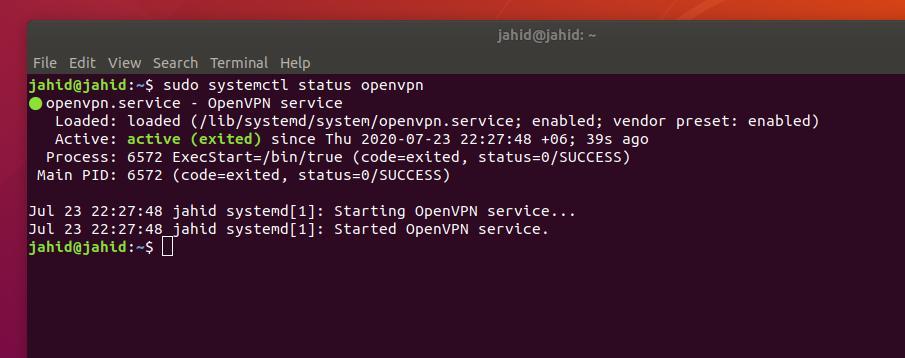 OpenVPN in Ubuntu Linux status