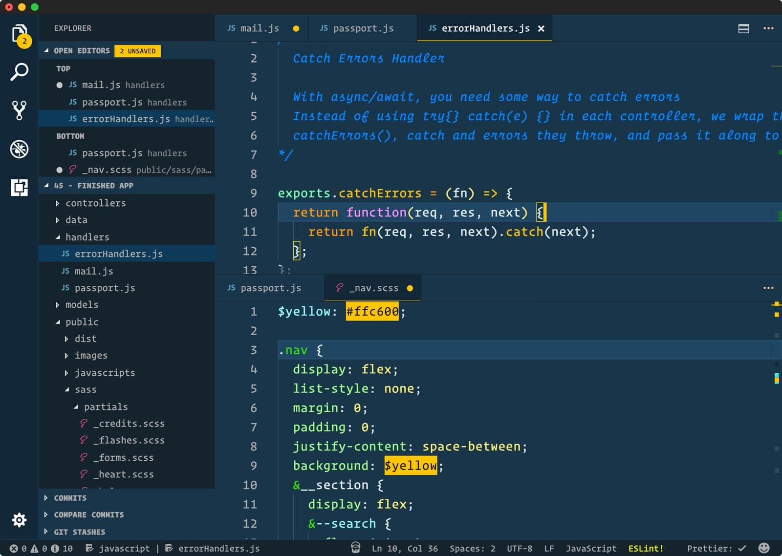cobalt2 in vscode themes