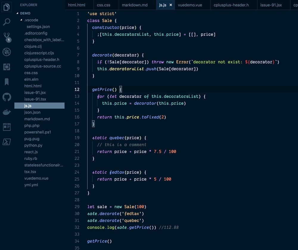 night owl in vscode themes
