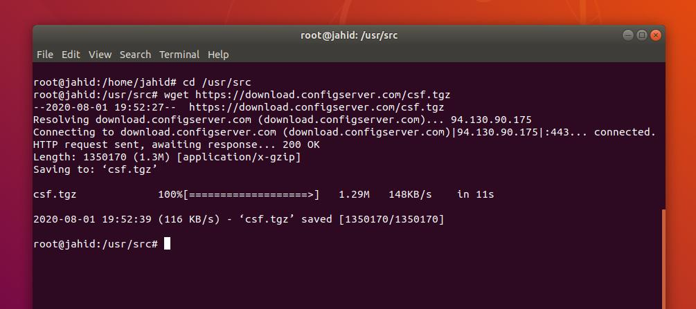 CSF on Linux download csf