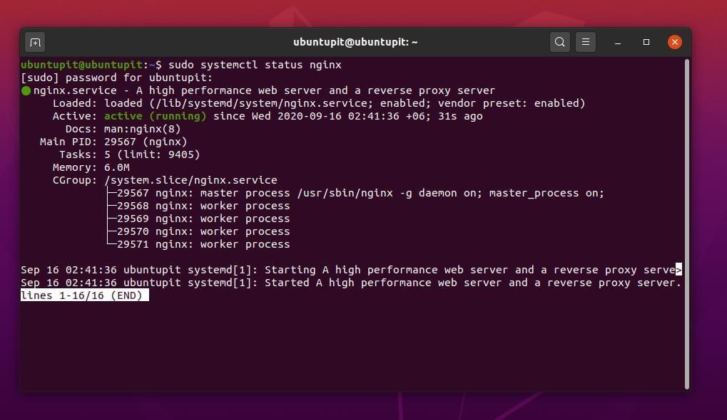 systemctl status Nginx web server