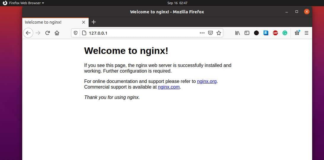welcome to Nginx web server on Ubuntu