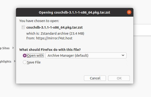 CouchDB on Linux arch
