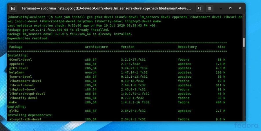 Psensor Sensor Monitor in Linux yum gcc