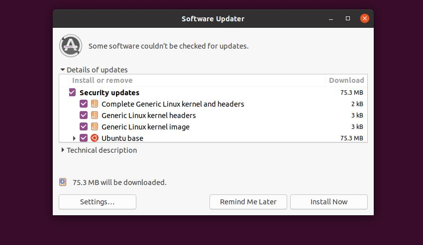 Upgrade Linux Kernel update