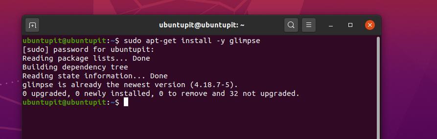installed glimpse on ubuntu