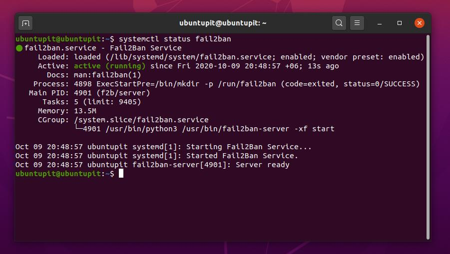 fail2ban linux active stattus
