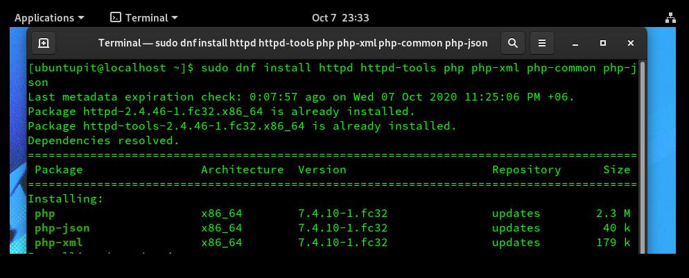 install php on fedora