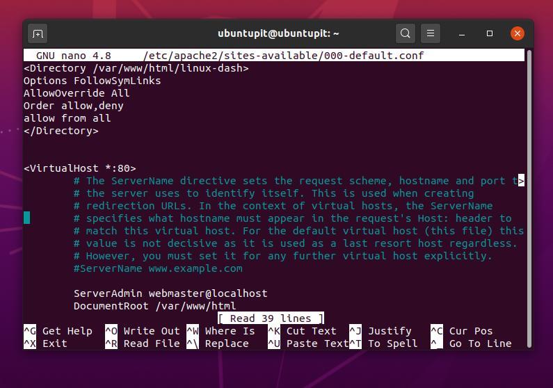 nano linux dash edit