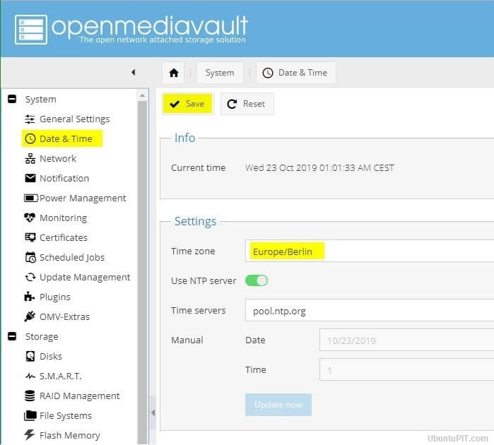 openmediavault5 time zone settings