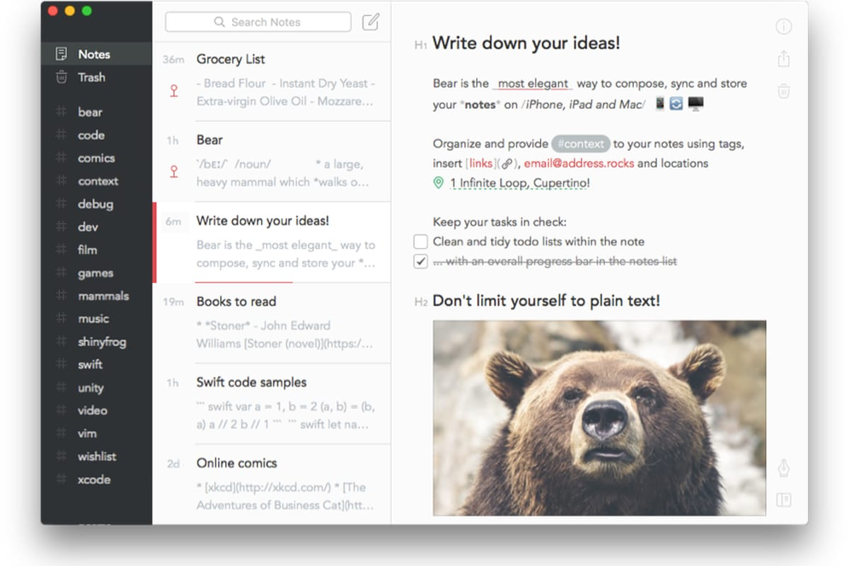 Bear , notes apps for iPad