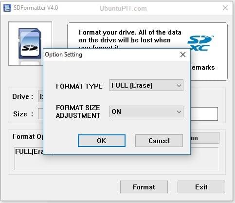 Format Erase Confirmation
