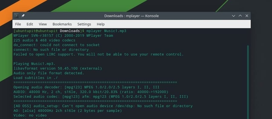 MPlayer Manjaro mp3 by command line