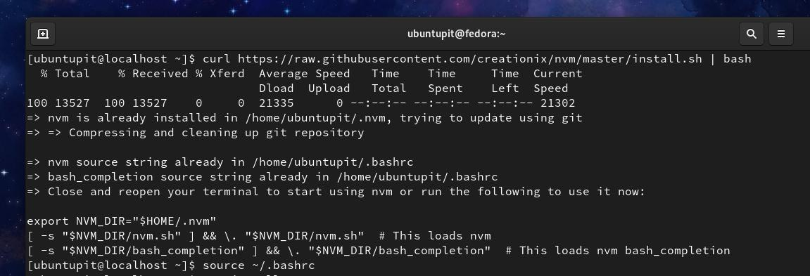 NVM on Fedora Linux CURL