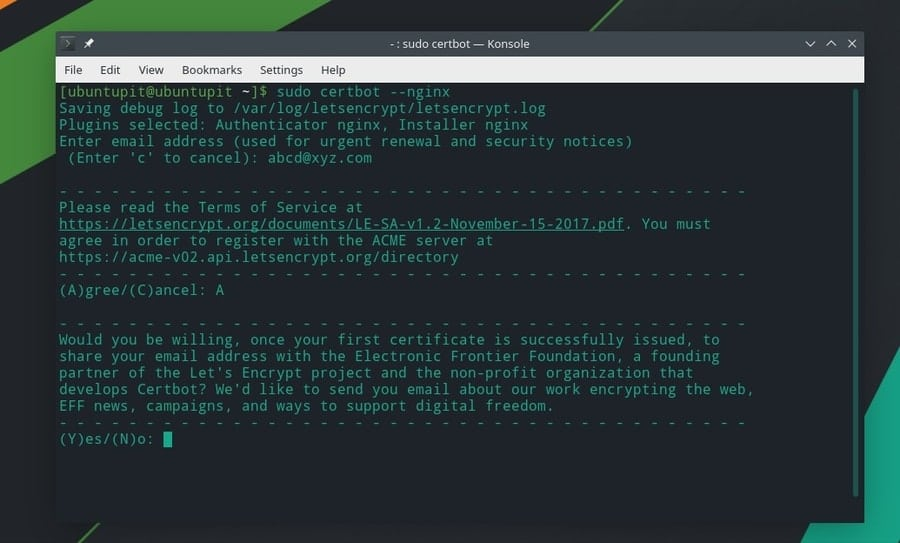 Nginx Manjaro Let's Encrypt on Linux