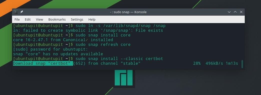 Snap LS Manjaro Let's Encrypt on Linux
