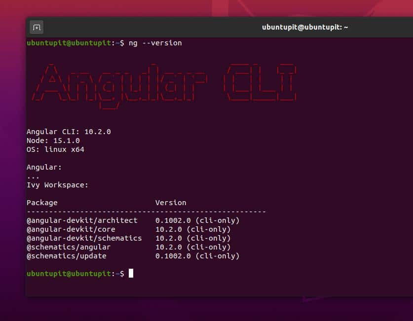angular cli on ubuntu linux version