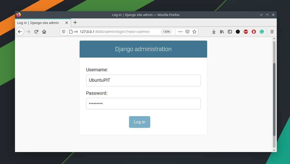 django login page on Linux