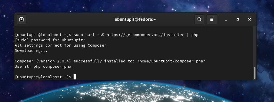 fedora PHP Composer install
