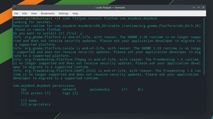 flatpak install anydesk