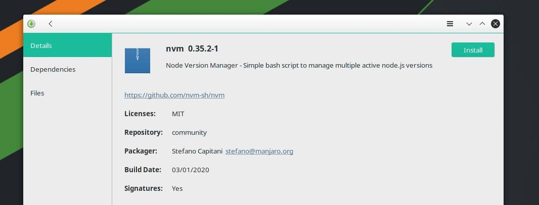 install NVM on Arch Linux from store
