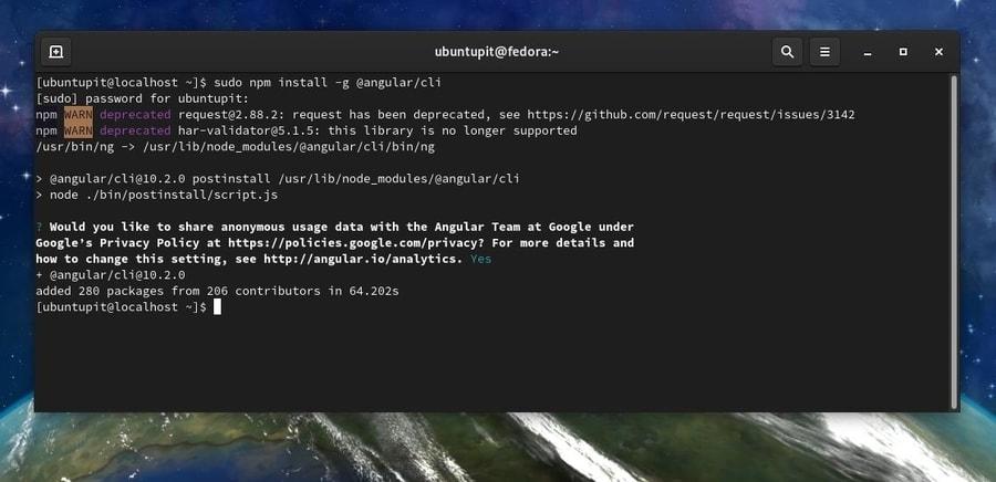 install angular cli on fedora linux