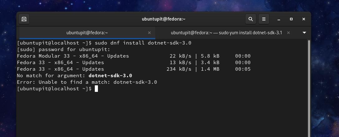 install dotnet core sdk on Fedora