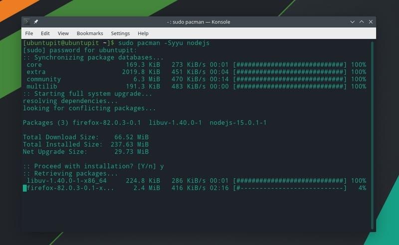 install nodejs on arch