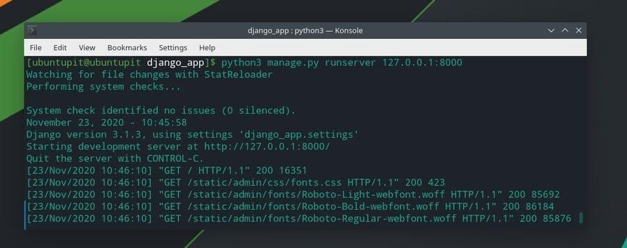 localhost run django on linux