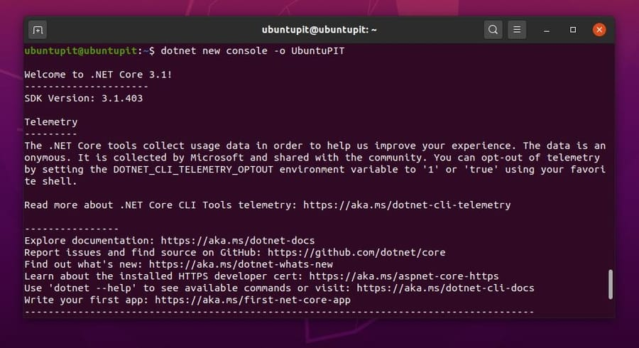 new project on dotnet core linux