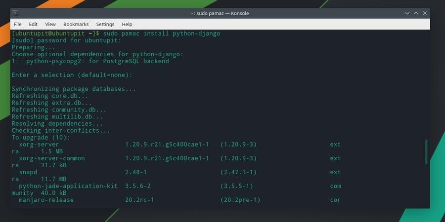 pamac Install Django on Manjaro Linux