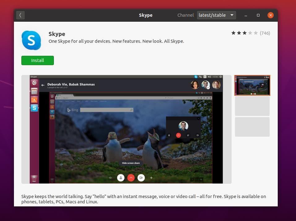 skype on ubuntu store