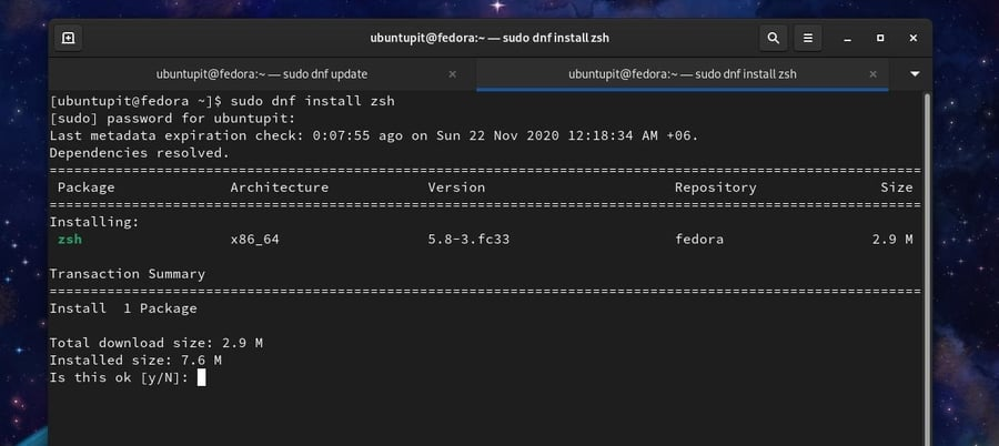 zsh on Fedora Linux install