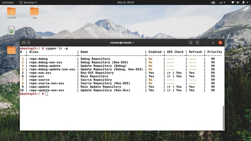 Display SUSE repos using zypper