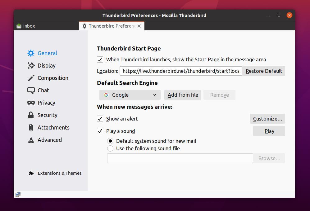 Thunderbird mail alert