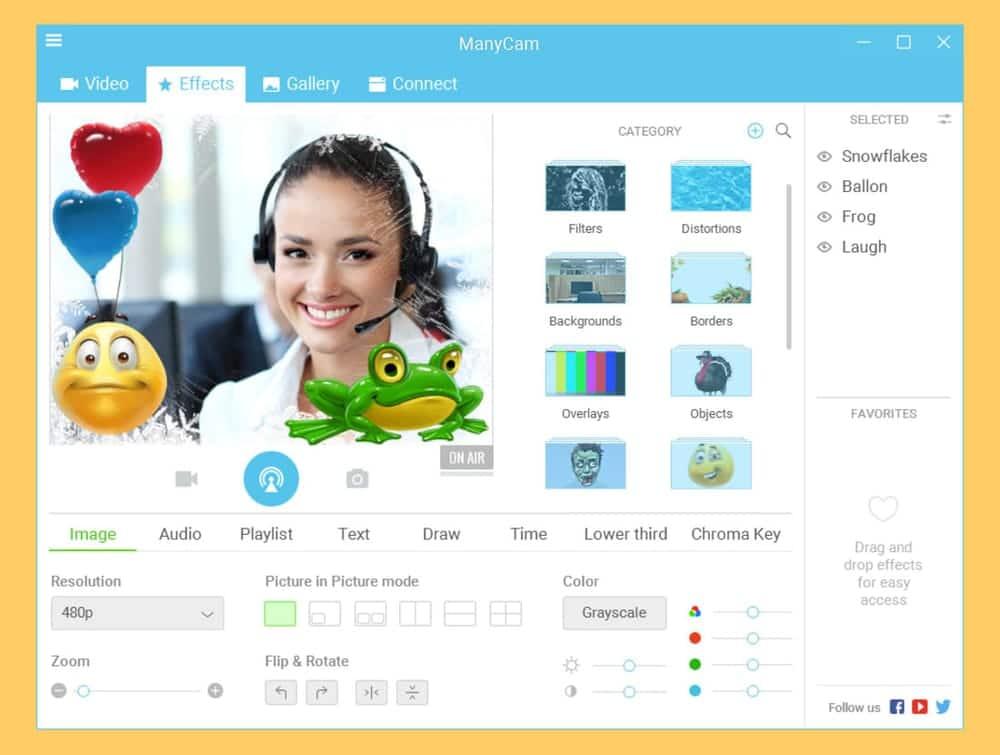 ManyCam webcame software for Windows 10