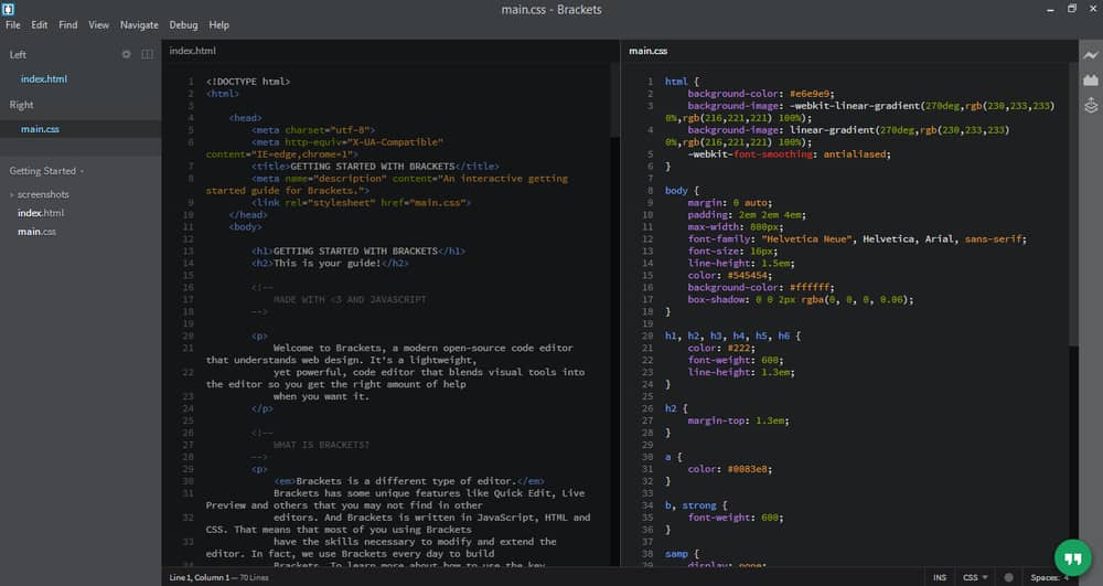 Brackets text editor for Windows