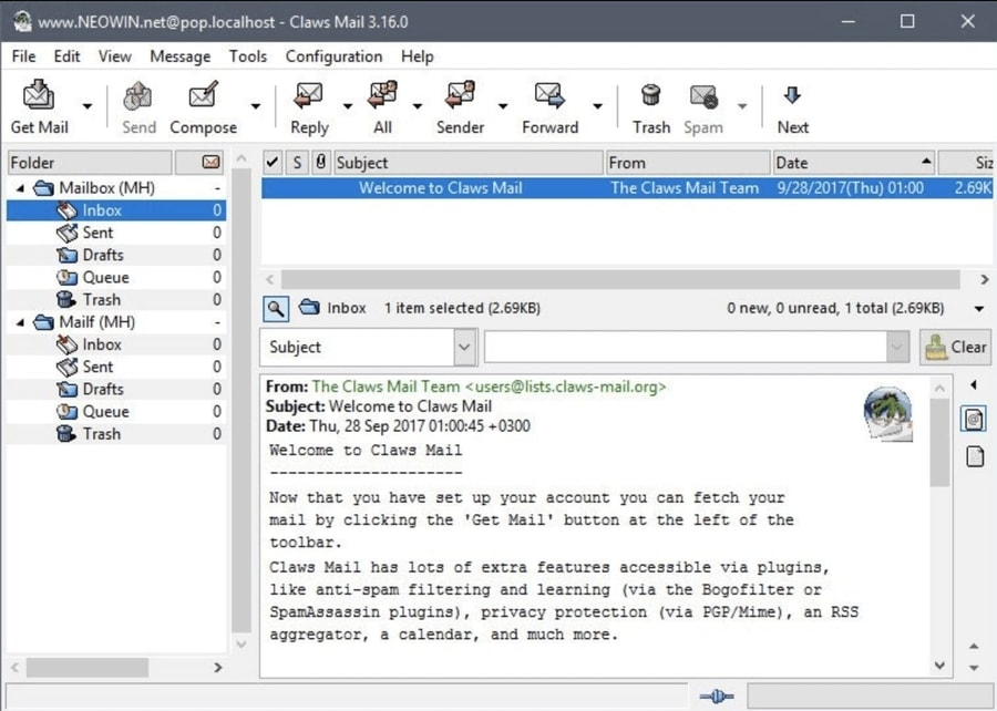 Claws Mail-Email Encryption Tools for Linux