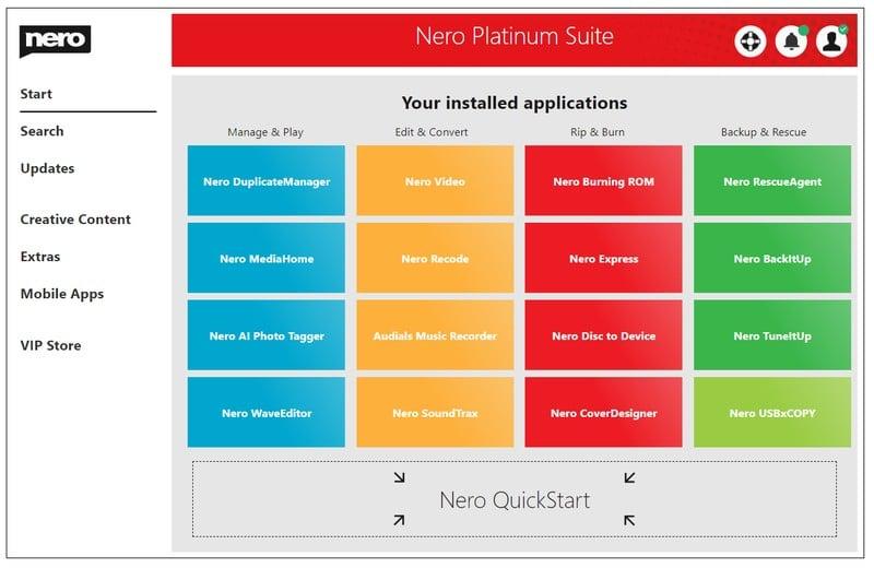 nero_platinum_suite - DVD burning software for Windows 10