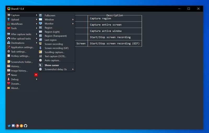 sharex - screen recording software for Windows