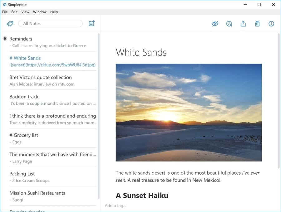 simplenote - note taking apps for Windows