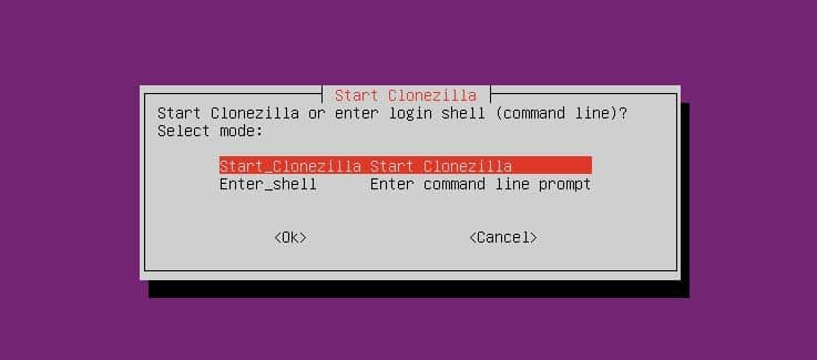 start Clonezilla