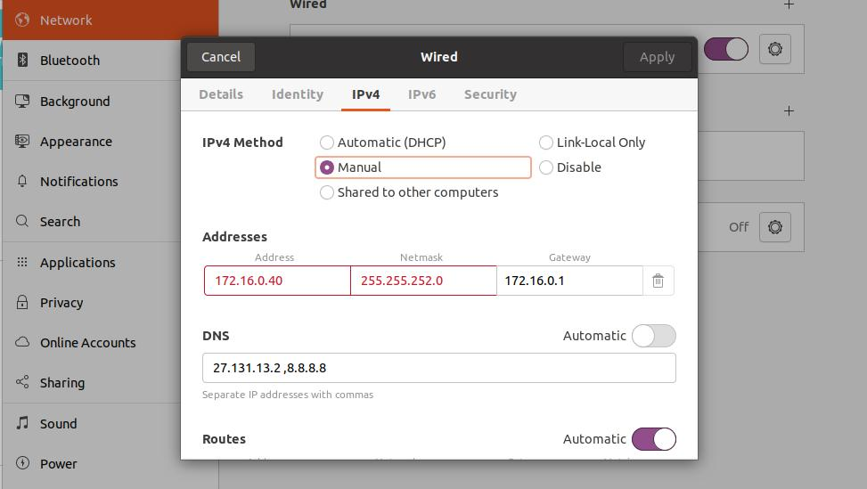 static ip on ubuntu GUI