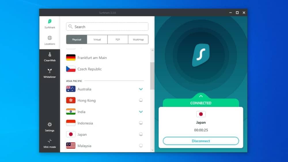 Surfshark VPN apps for Windows