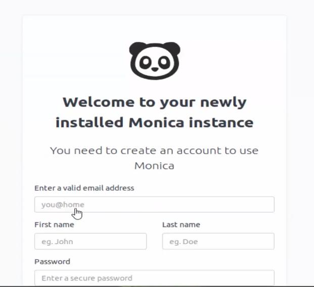 Monica Personal Relationship Management On Ubuntu on web browser